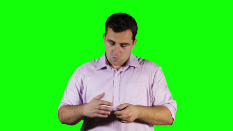 Young Man Finger Pain Green Screen 9 stock footage