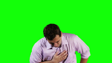 Young Man Heart Problem Green Screen 10 Stock Video Footage