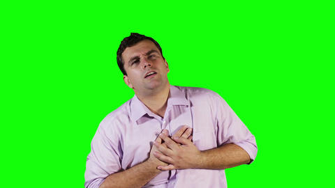 Young Man Heart Problem Green Screen 10 Footage