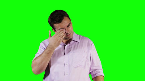 Young Man Hurting Eyes Green Screen 2 Stock Video Footage