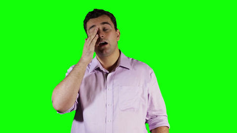 Young Man Hurting Eyes Green Screen 2 stock footage
