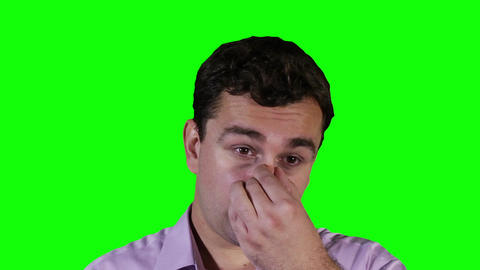 Young Man Hurting Nose Green Screen 14 stock footage