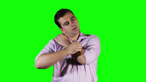Young Man Shoulder Pain Green Screen 6 stock footage