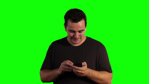 Young Man Smartphone Good News Greenscreen 03 Stock Video Footage