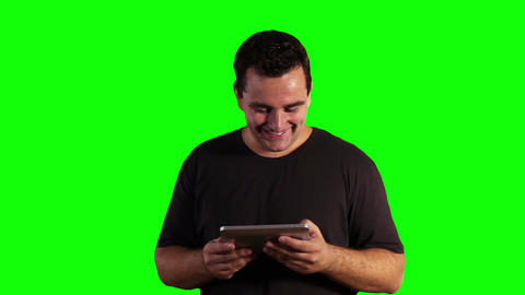 Young Man Tablet PC Good News Greenscreen 12 Footage