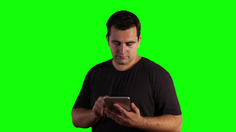 Young Man Tablet PC Greenscreen 09 Stock Video Footage