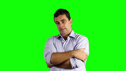 Young Unhappy Businessman Greenscreen 54 Footage