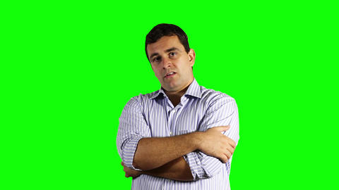 Young Unhappy Businessman Greenscreen 54 Stock Video Footage