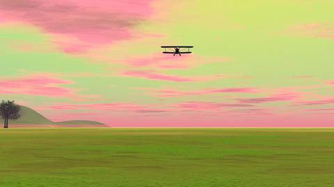 Biplan landing - 3D render Stock Video Footage