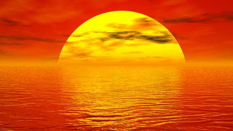 Sunset over ocean - 3D render Stock Video Footage
