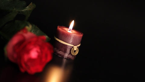 Red Rose And Candle stock footage