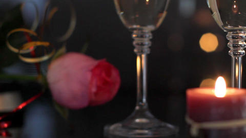 Champagne and rose Stock Video Footage