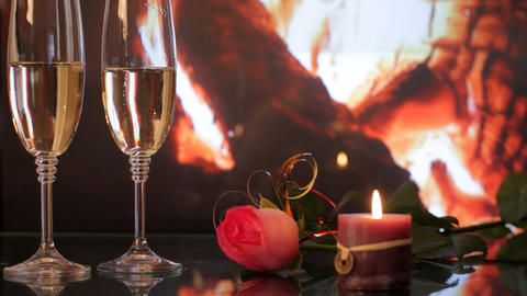 Two glasses with champagne Stock Video Footage