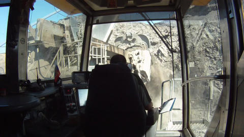 Cabin of giant excavator Stock Video Footage