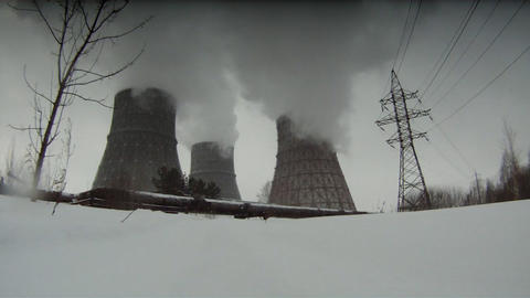 Cooling towers Stock Video Footage