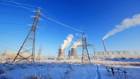 Industrial in winter Stock Video Footage