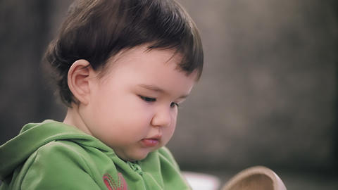 Baby Girl Portrait Stock Video Footage