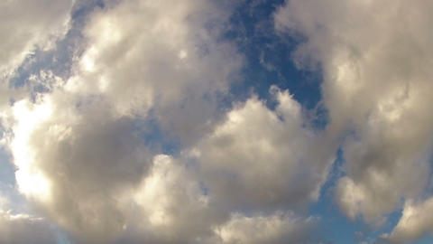 Blue Sky With White Thick Clouds. stock footage