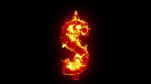 Burning dollar sign Stock Video Footage