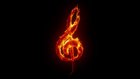 Burning treble clef Stock Video Footage