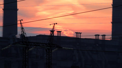 industrial sunset Stock Video Footage