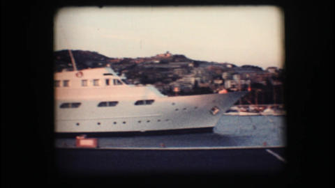 Vintage 8mm. Docked yacht Footage