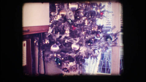 Vintage 8mm. Christmas tree Stock Video Footage