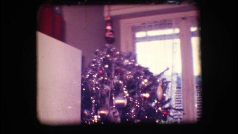 Vintage 8mm. Christmas tree Stock Video Footage