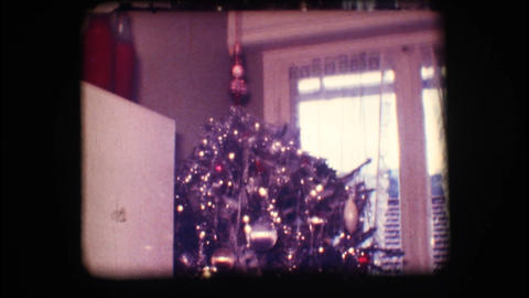 Vintage 8mm. Christmas tree Footage