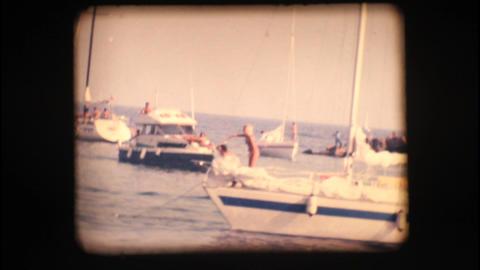 Vintage 8mm. Boats at port entrance Footage