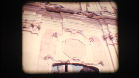 Vintage 8mm. Ruins of an old church Stock Video Footage