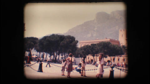 Vintage 8mm. Prince's Palace of Monaco and tourist Stock Video Footage