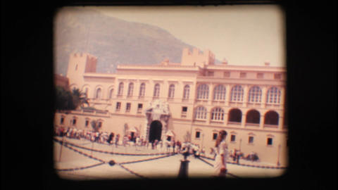 Vintage 8mm. Prince's Palace of Monaco and tourist Footage