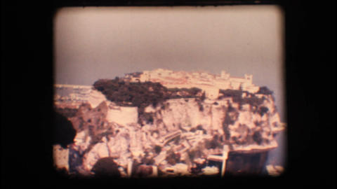 Vintage 8mm. Old town on a cliff Stock Video Footage