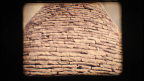 Vintage 8mm. Roof of a trullo Stock Video Footage
