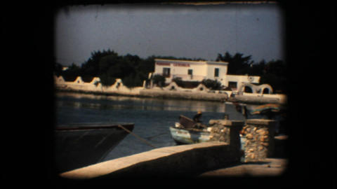Vintage 8mm. Docked fishing boats Stock Video Footage