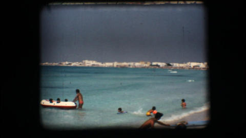 Vintage 8mm. Clear water beach Footage