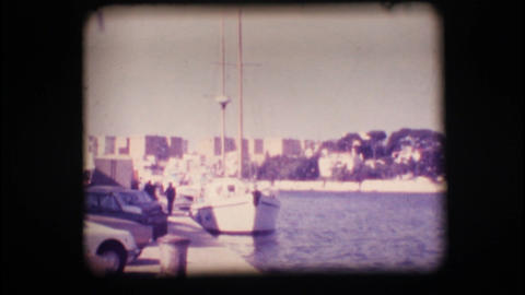Vintage 8mm. Docked sail boat Stock Video Footage