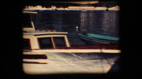 Vintage 8mm. Docked boat Stock Video Footage