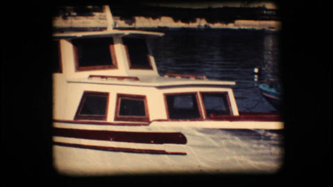 Vintage 8mm. Docked boat Footage