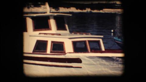 Vintage 8mm. Docked boat Footage