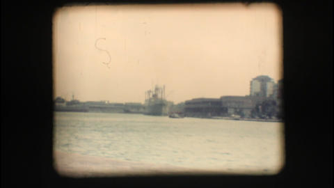 Vintage 8mm. Port of Brindisi Stock Video Footage