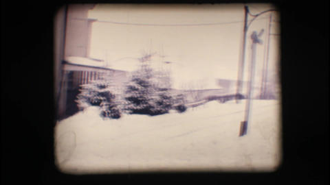 Vintage 8mm. Snowy street Stock Video Footage
