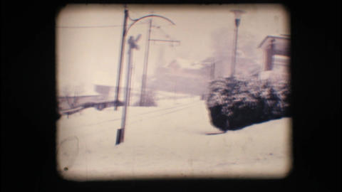 Vintage 8mm. Snowy street Stock Video Footage