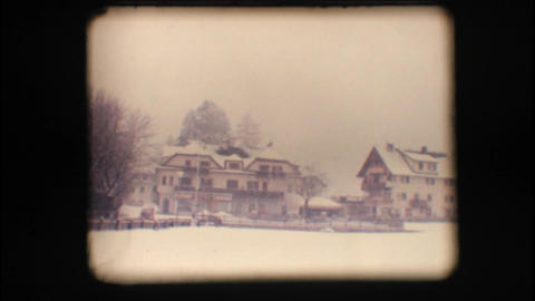 Vintage 8mm. Snowy neighbourhood Footage