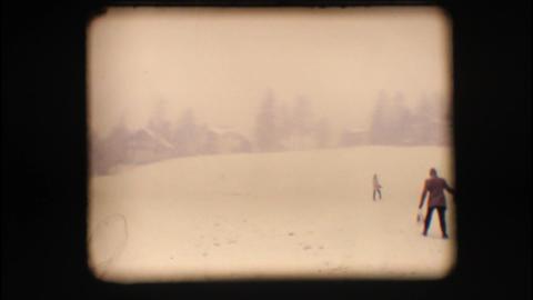 Vintage 8mm. Snowy neighbourhood Stock Video Footage