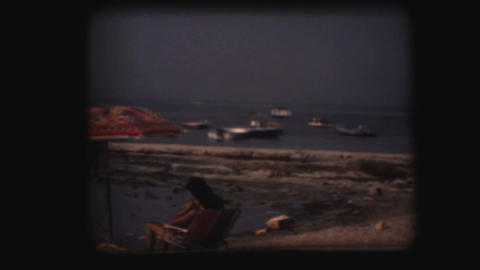 Vintage 8mm. Clear water beach Stock Video Footage