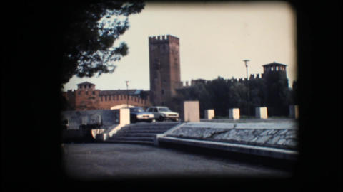 Vintage 8mm. View of tower and bridge in Verona Stock Video Footage