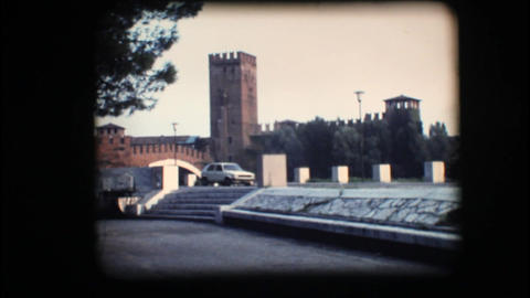 Vintage 8mm. View of tower and bridge in Verona Footage