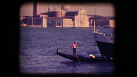 Vintage 8mm. Gondola in Venice Footage